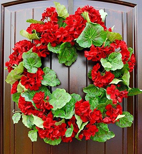 Red Geranium Wreath for Spring or Summer Front Door Decor in 21 Inch ()