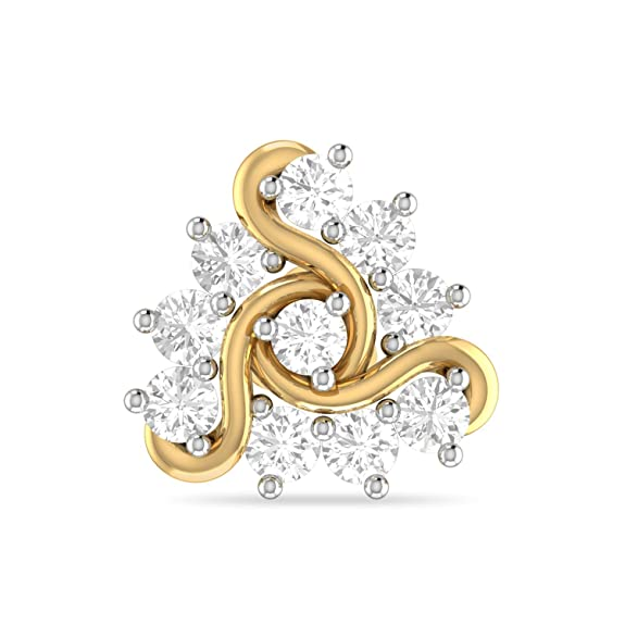 PC Jeweller The Nirina 18KT Yellow Gold and Diamond Nose Pin for Women Nose Pins