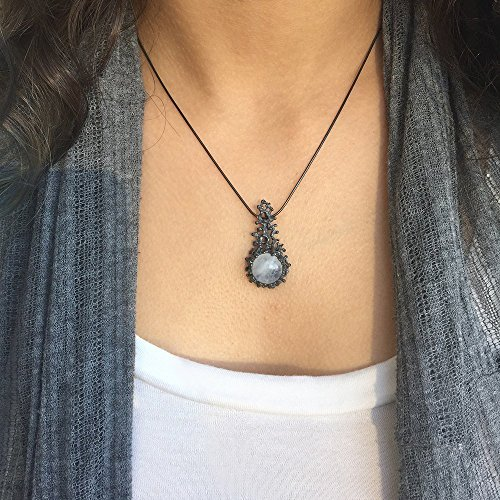 - Handmade Black Oxidized Sterling Silver, Large Natural Rainbow Moonstone Gemstone, Coral Reef Statement Pendant Necklace, 18