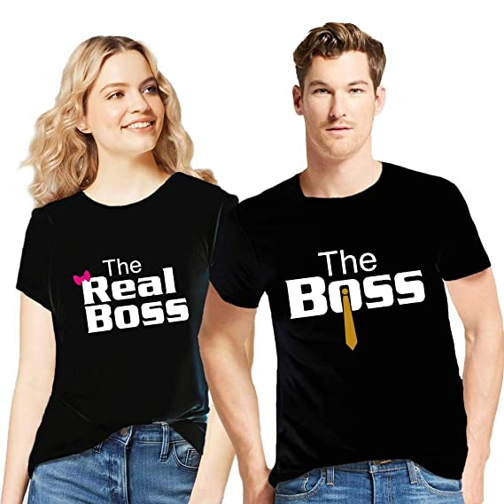 48a771f83 GiftsCafe Men's and Women's Couple's Cotton The Boss The Real Boss Printed T -Shirt Valentine