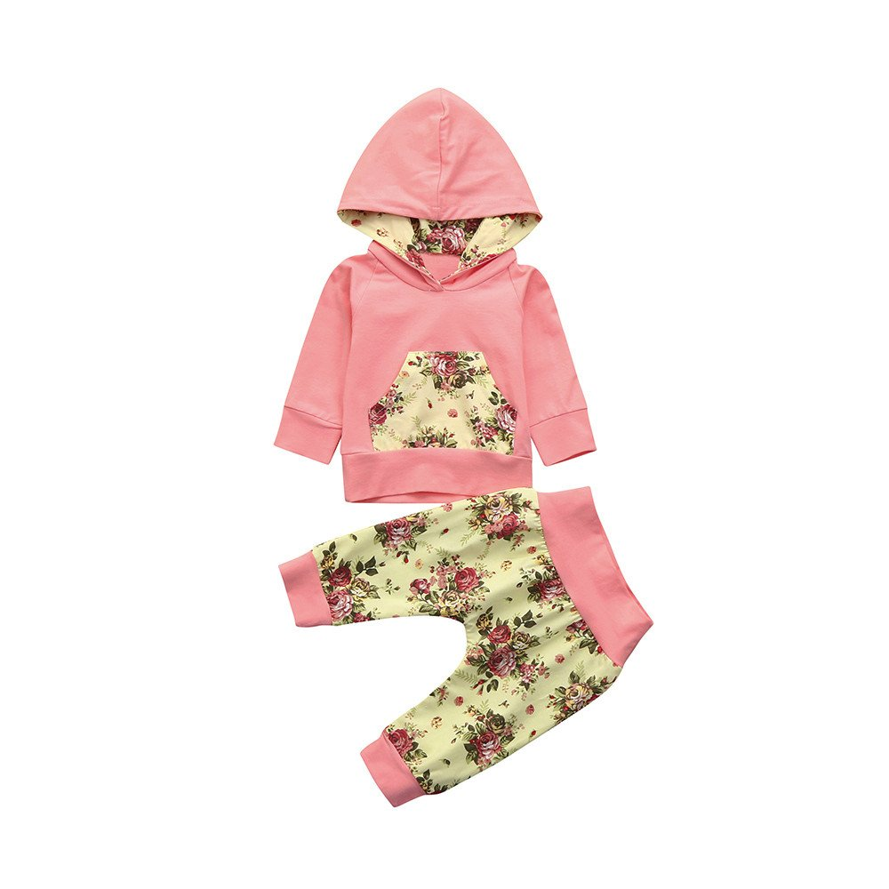 Clearance Sale Baby Girls Clothes Set 0-24 Months Floral Hoodie Pocket Sweatshirt Tops Pants Outfit JY-123