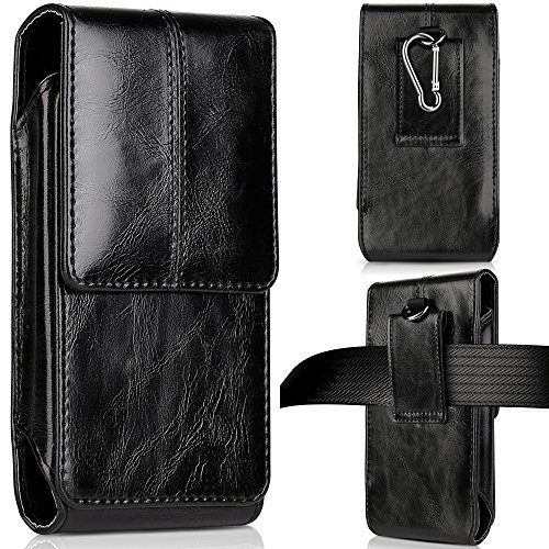 Vertical Leather Pouch with Carabiner for iPhone 6s Plus Black - 1