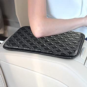GAMPRO Luxury PU Soft Leather Car Center Console Cushion Vehicle Seat Cushions Armrest Pillow Pad Car Motor Auto Vehicle Black 11x 8.6 inches Raises Your Center Console.