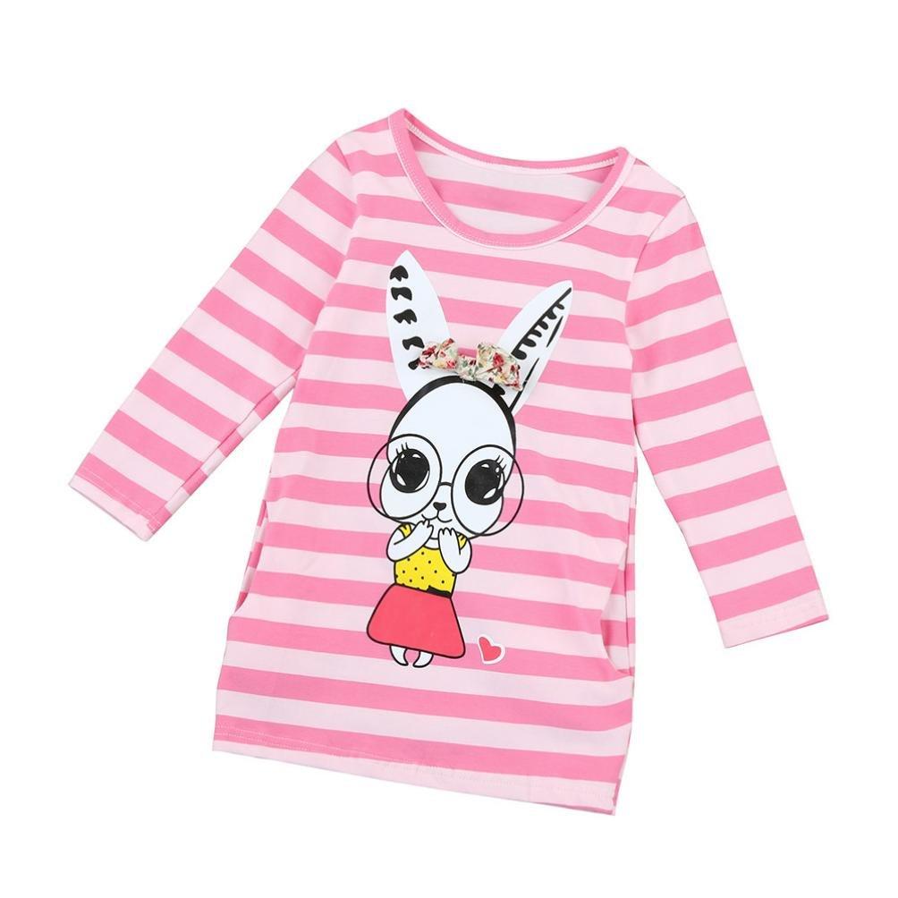 Toddler Kids Baby Girls Clothes Long Sleeve Stripe Bow Print Dress T-Shirt Tops