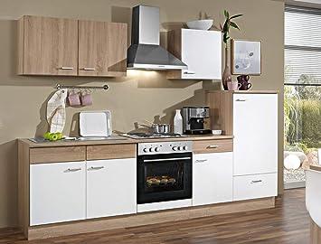 Expendio Küchenblock Solina 270 Cm Mit E Geräten Komplett Weiß Sonoma Eiche  Küchenzeile Einbauküche Komplett