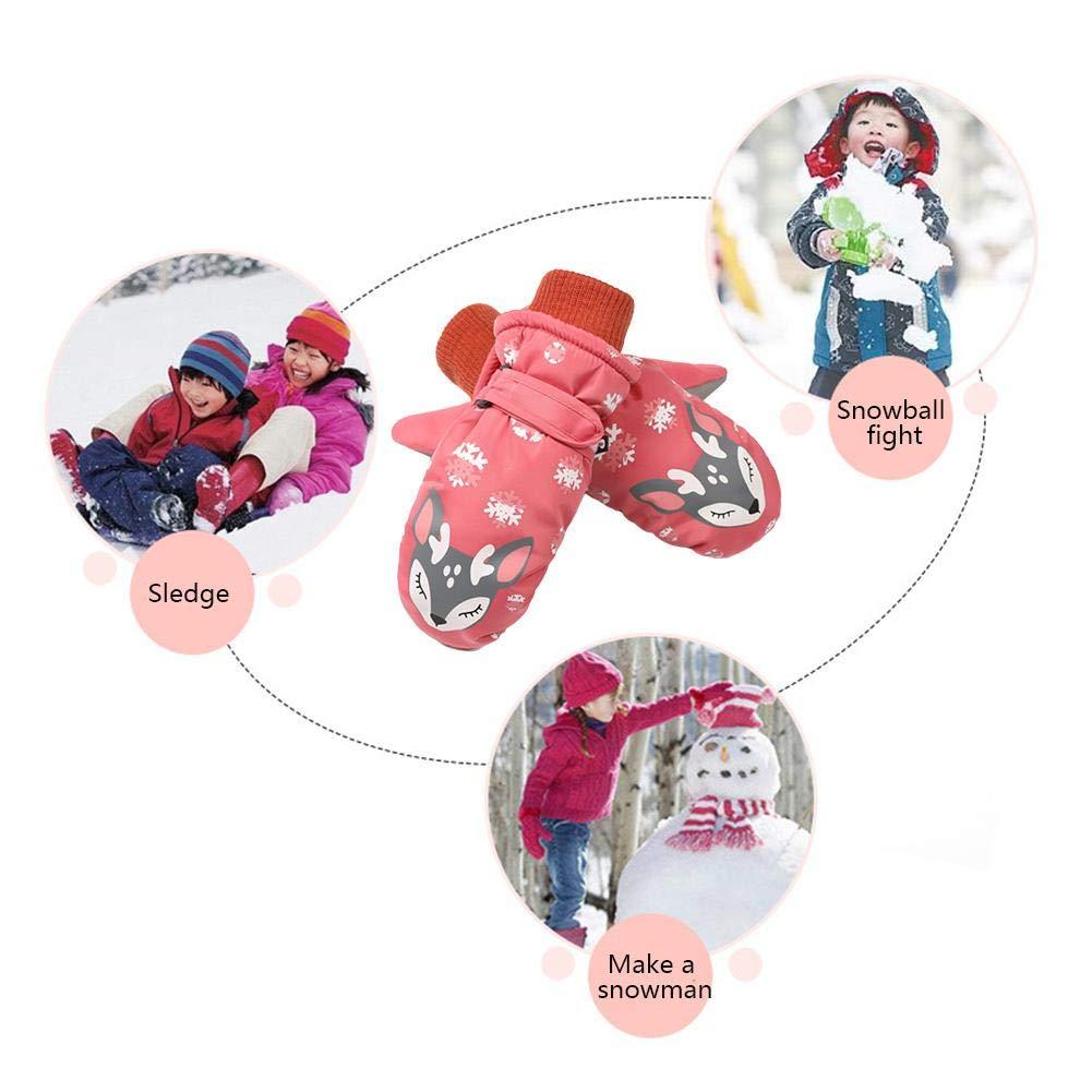 Ruier-hui Gants de Ski pour Enfants Imperm/éable Gants Chauds pour Sports de Plein air /Étanche Coton Chaud sous Vide Enjoyment handsomely Facile /à Mettre et /à Sortir