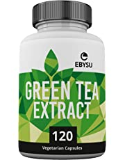 EBYSU Green Tea Extract with EGCG - 500mg Capsules - 120 Day Supply - Natural Caffeine Source & Metabolism Booster Supplement for Weight Loss - Healthy Vegan Fat Burner Pills