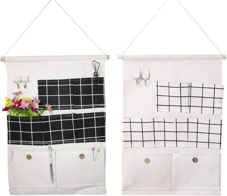 VASZOLA - Bolsa de almacenamiento para colgar sobre la puerta con 7 bolsillos y 2 Pothook, resistente al agua, organizador de pared para dormitorio, cuarto de baño, clóset, color negro + blanco