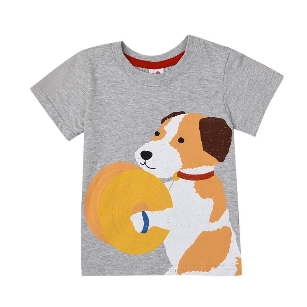 Baby T-Shirt,for 1-8 Years Old Cute Newborn Baby Boys Girls Short Sleeve Cartoon Dogs Tops T-Shirt Blouse Summer Clothes ClodeEU-02