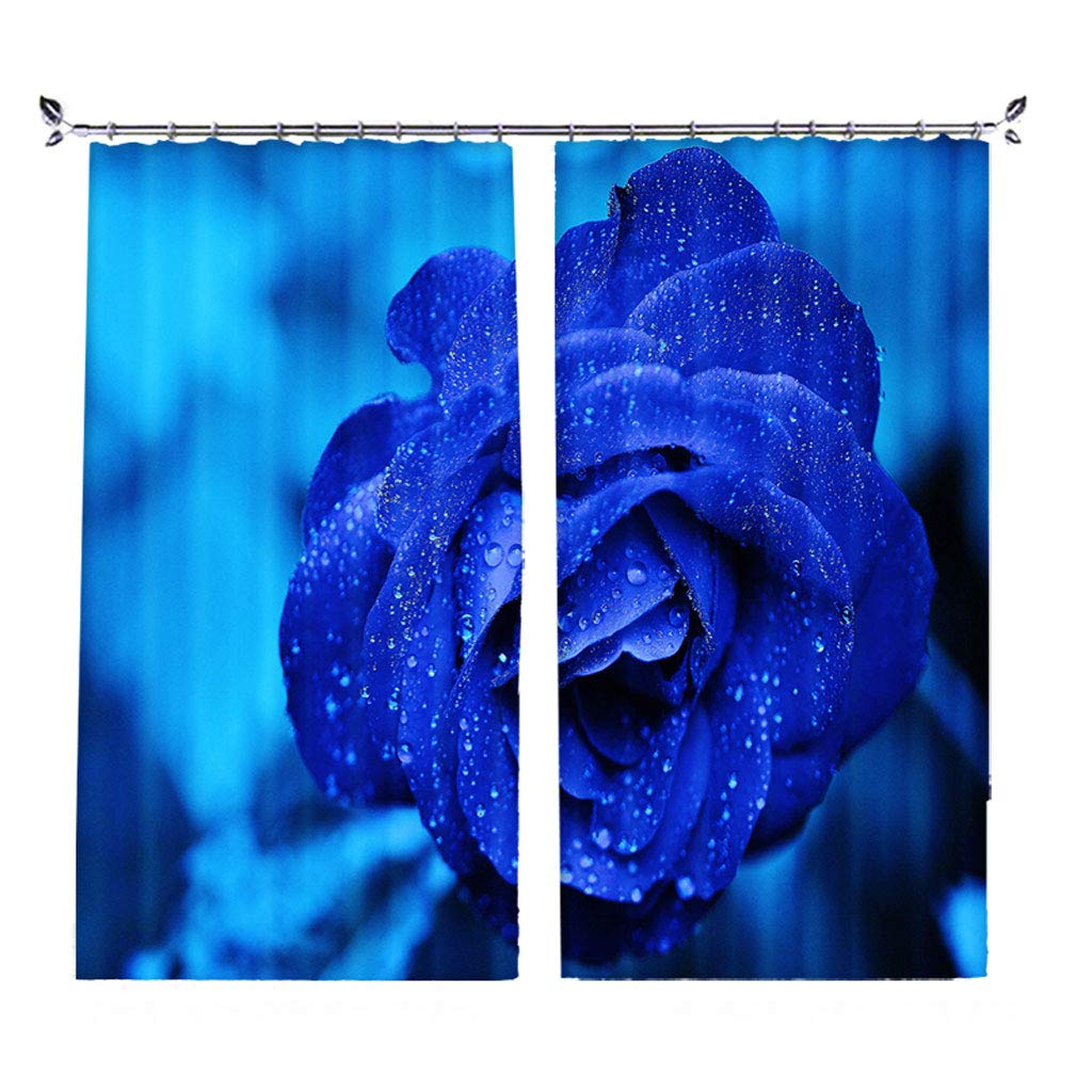 ZZHL Curtains Curtains,Hooks Rings Blackout Set Thermal Insulated Window Treatment Solid Eyelet for Bedroom 2 Panels Blue Flower (Size : 1x2.41m) by ZZHL (Image #1)