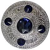 AAR Men's Celtic Kilt Fly Plaid Brooch Blue 5 Stones Silver 4''/ Scottish/Highland