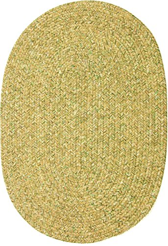 Sabrina Oat Meal Tweed Indoor Outdoor Oval Braided Rug, 5 by 8-Feet, Oatmeal