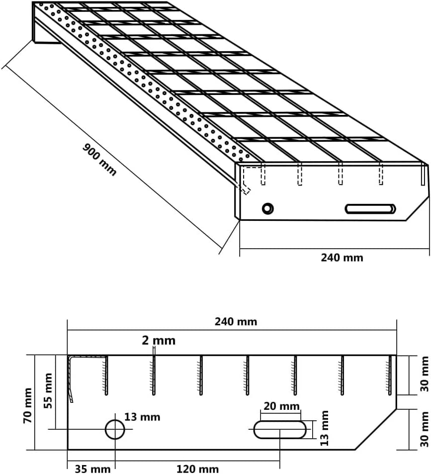 vidaXL4x Marches dEscalier Forge Soud/ée Caillebotis Passerelle de Plancher Couverture de Drainage Installation Industrielle Acier 600x240 mm