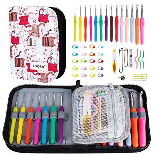 K Kwokker 48 Pieces Ergonomic Crochet Hooks Set with Cartoon Cat Case Grip Crochet Kit and Accessories for Beginners and Crocheters, Complete Accessories, Small Volume and Convenient to Carry, Pink by K Kwokker (Image #7)