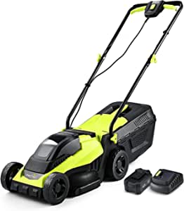 Cordless Lawn Mower, 14 Inch Electric Lawn Mower with Brushless Motor, 20v 4.0ah Battery and Charger, 2-in-1 Grass Bag, Push Lawn Mower, Lawn Dethatcher