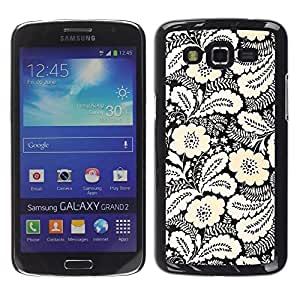 Be Good Phone Accessory // Dura Cáscara cubierta Protectora Caso Carcasa Funda de Protección para Samsung Galaxy Grand 2 SM-G7102 SM-G7105 // Yellow White Black Wallpaper Vintage