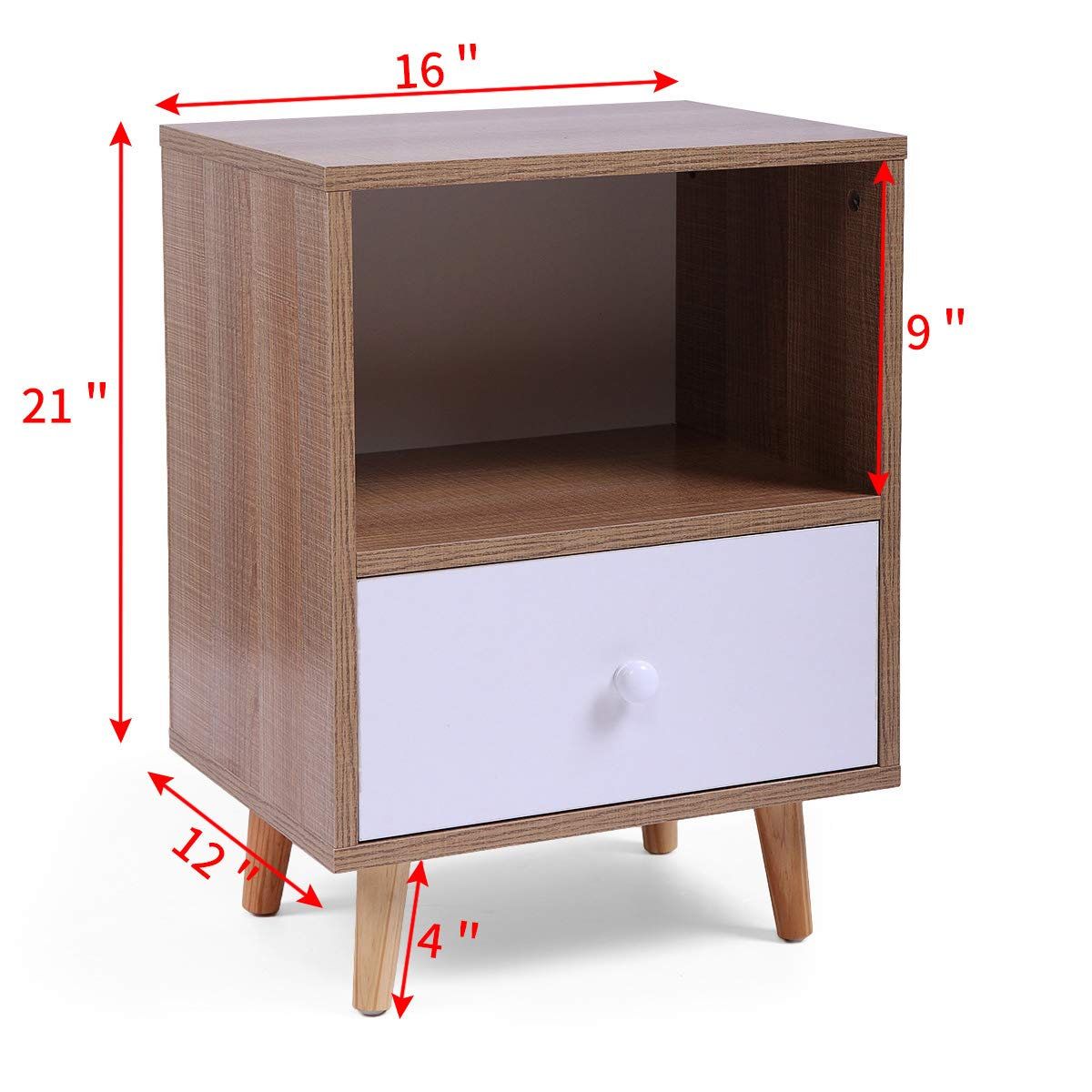 Set of 2 Night Stand 2 Layer w/Drawer Bedside End Table Organizer Bedroom by Betterhomechoice (Image #3)