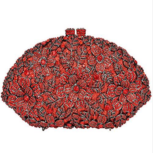 Pattern Evening Flower Clutch Fashion Women Rot GAOXIA Shoulder Bag Wedding Luxury Crystal Bag Evening Rhinestone Bag Diamond F4Rxw7xq
