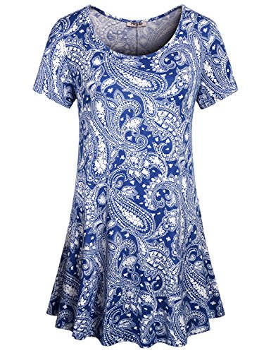 Hibelle Ladies Floral Tops, Women's Crew Neck Short Sleeve Casual Knitted Comfy Flows T Shirts Trapeze Boho Print Pattern Tunics to Wear with Leggings Holiday Wear Blue Large