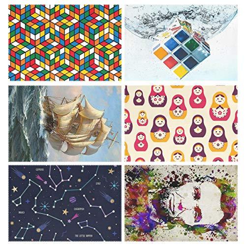 YOULUCK-7 Placemats Set of 6, Rubix Cubes Pattern Rubik