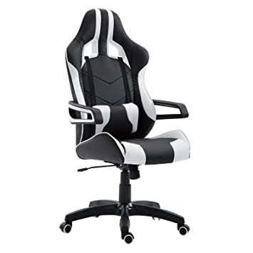 Schreibtischstuhl Weiss caro möbel gaming drehstuhl play lederimitat in schwarz weiß