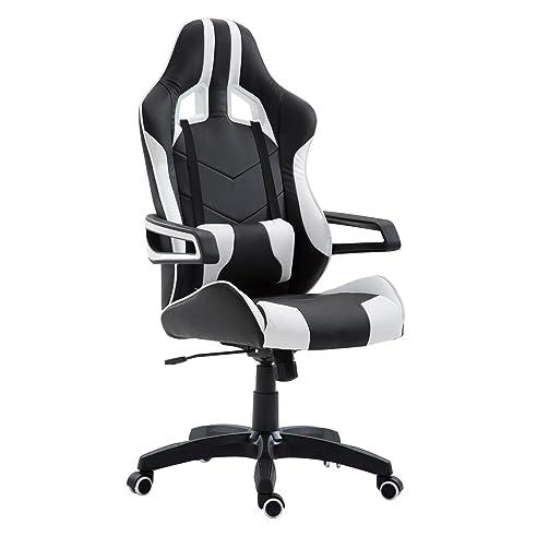 Schreibtischstuhl schwarz weiß  Gaming Drehstuhl PLAY Bürostuhl PC Schreibtischstuhl Chefsessel ...