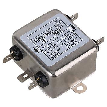 cnbtr metal plateado CW3 - 20 A-T Unipolar Tipo de soldadura AC115 ~ 250 V 20 A Suppressor Fuente de alimentación Fase Única línea EMI Filtro: Amazon.es: ...