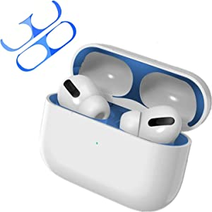 New Upgraded Luxurious Looking Compatible with AirPods Pro Metallic dustproof Film(Protect AirPods Pro from Iron,Metal Shavings) Dust Guard Suitable for Apple Airpods Pro (Blue, 1 Set)