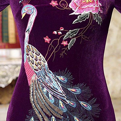 ACVIP Damen Halbe Hülse Cheongsam Qipao Etuikleid Pfau/Blume Stickerei Kunst Paillette Violett