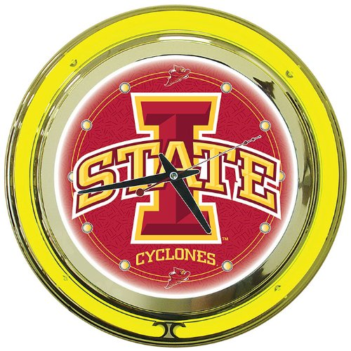 NCAA Iowa State University Chrome Double Ring Neon Clock, - University State Clock Neon