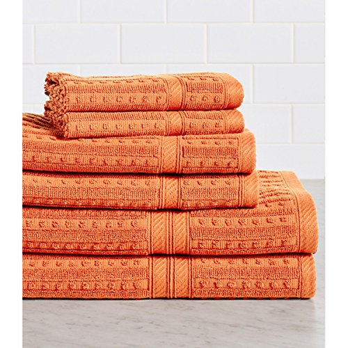 HomeCrate Naples 100% Cotton 6 Piece Towel Set - Coral - Hotel Quality, Super Soft Highly Absorbent by HomeCrate