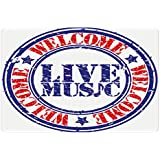 Ambesonne Popstar Party Pet Mat for Food and Water, Grunge Damaged Looking Welcome Live Music Rubber Stamp Festival Symbol, Rectangle Non-Slip Rubber Mat for Dogs and Cats, Blue Red White