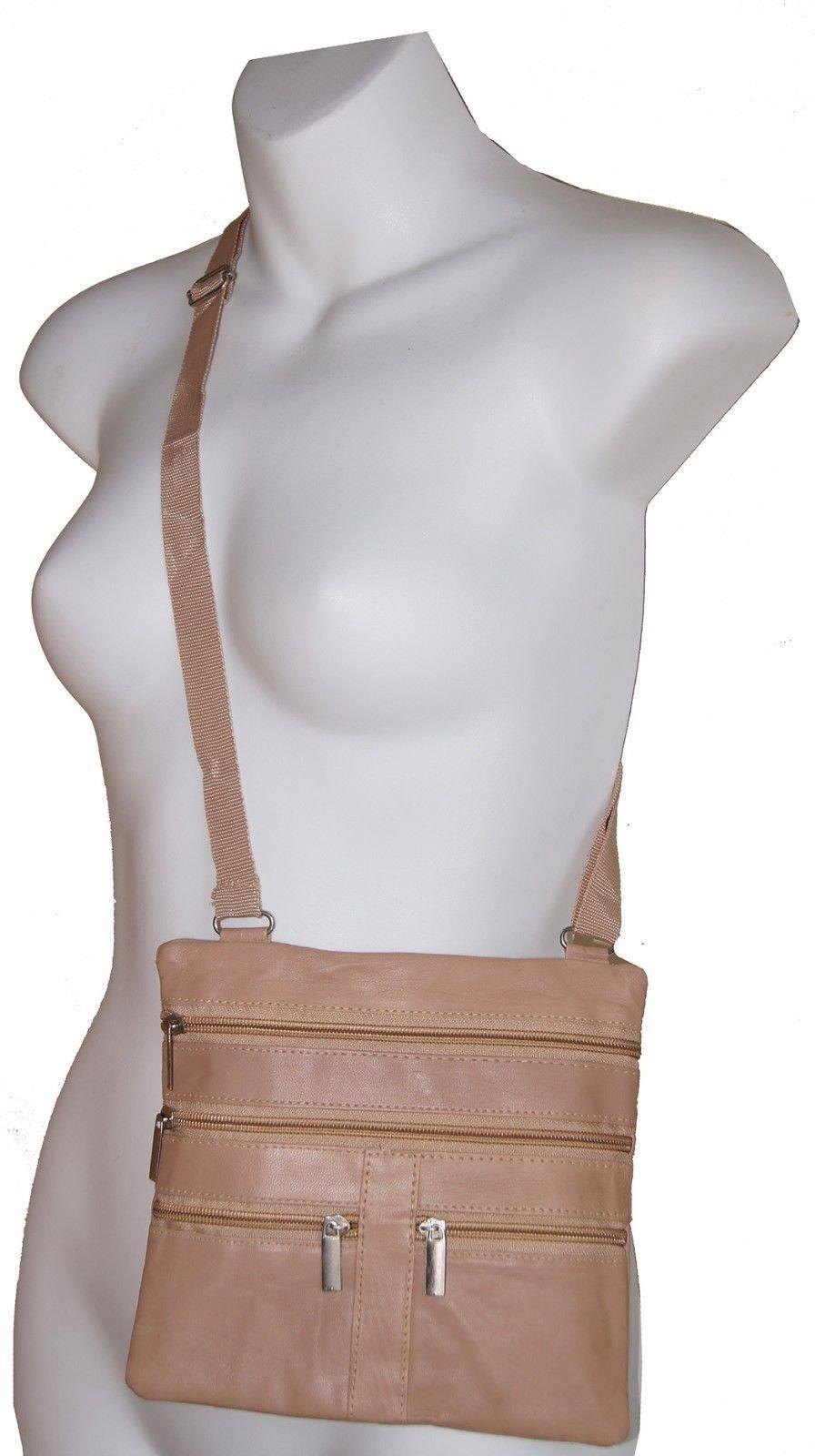 Beige Ladies Genuine Leather Cross Body Bag Satchel Messenger Bag 48'' Strap