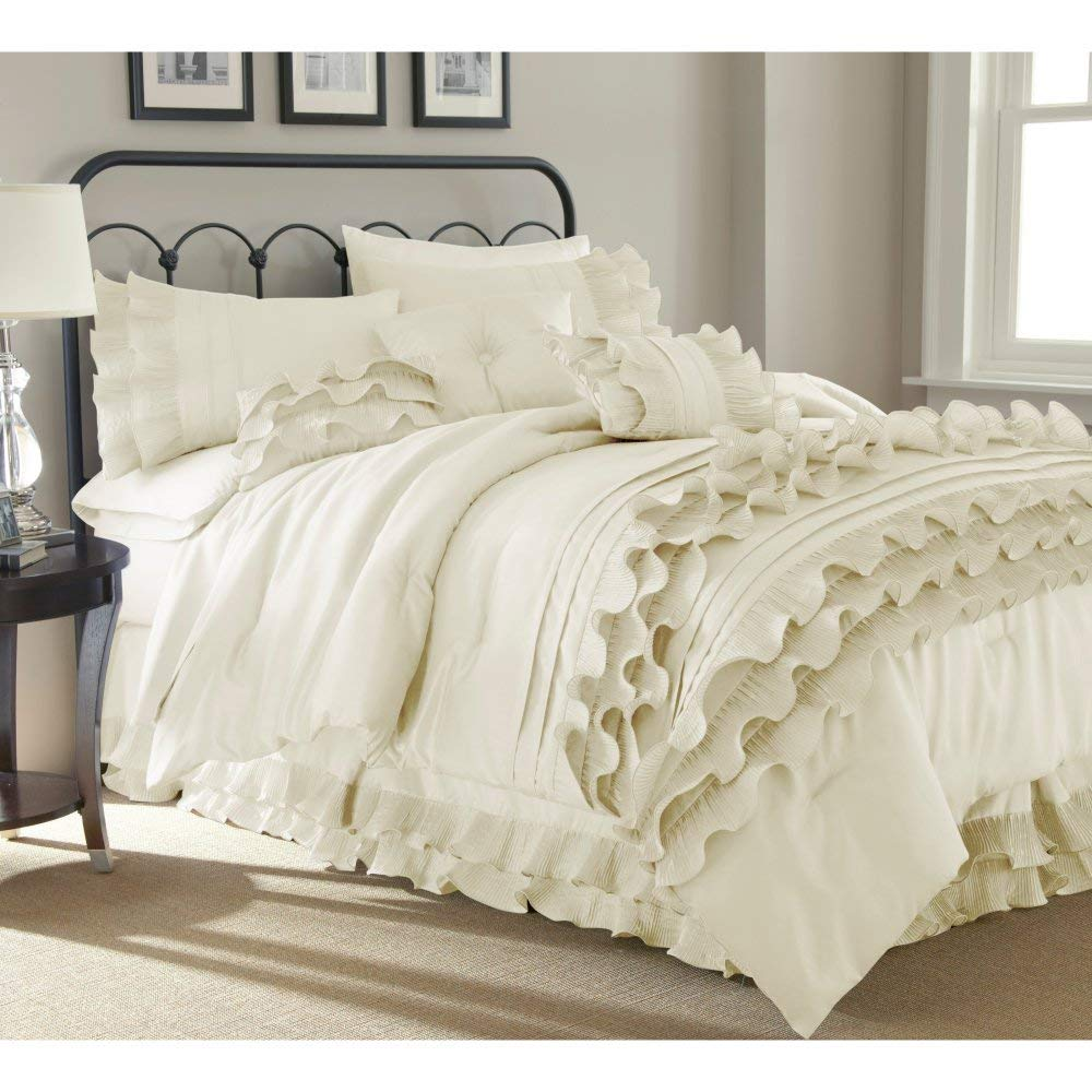 Pearl White Queen Amrapur Overseas Diana 8-Piece Embellished Comforter Set, Queen, Pearl White