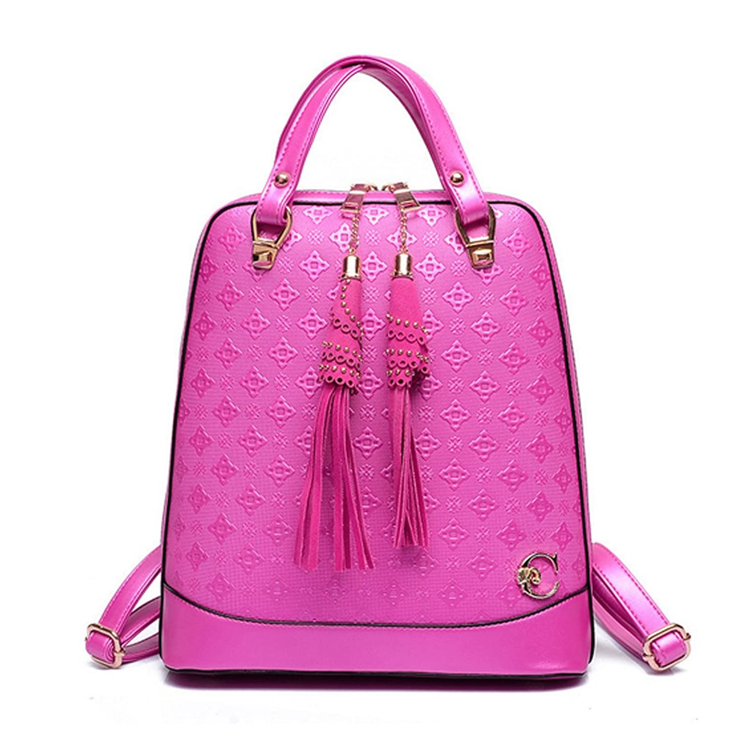 LOMOL Girls Fashion Cute Student Style High Quality Leather Tote Top-handle Handbag Backpack