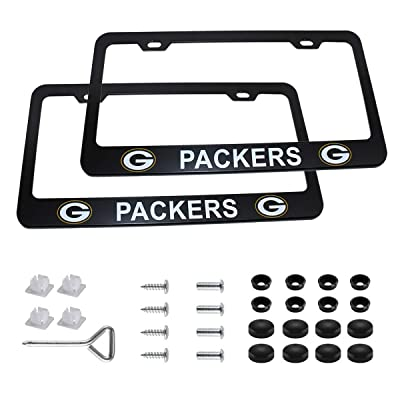 Auto Parts 2pcs with American Football Team Logo License Plate Frames with Screw Caps Set Stainless Steel Frame Applicable to US Standard Cars License Plate (Green Bay Packers): Automotive