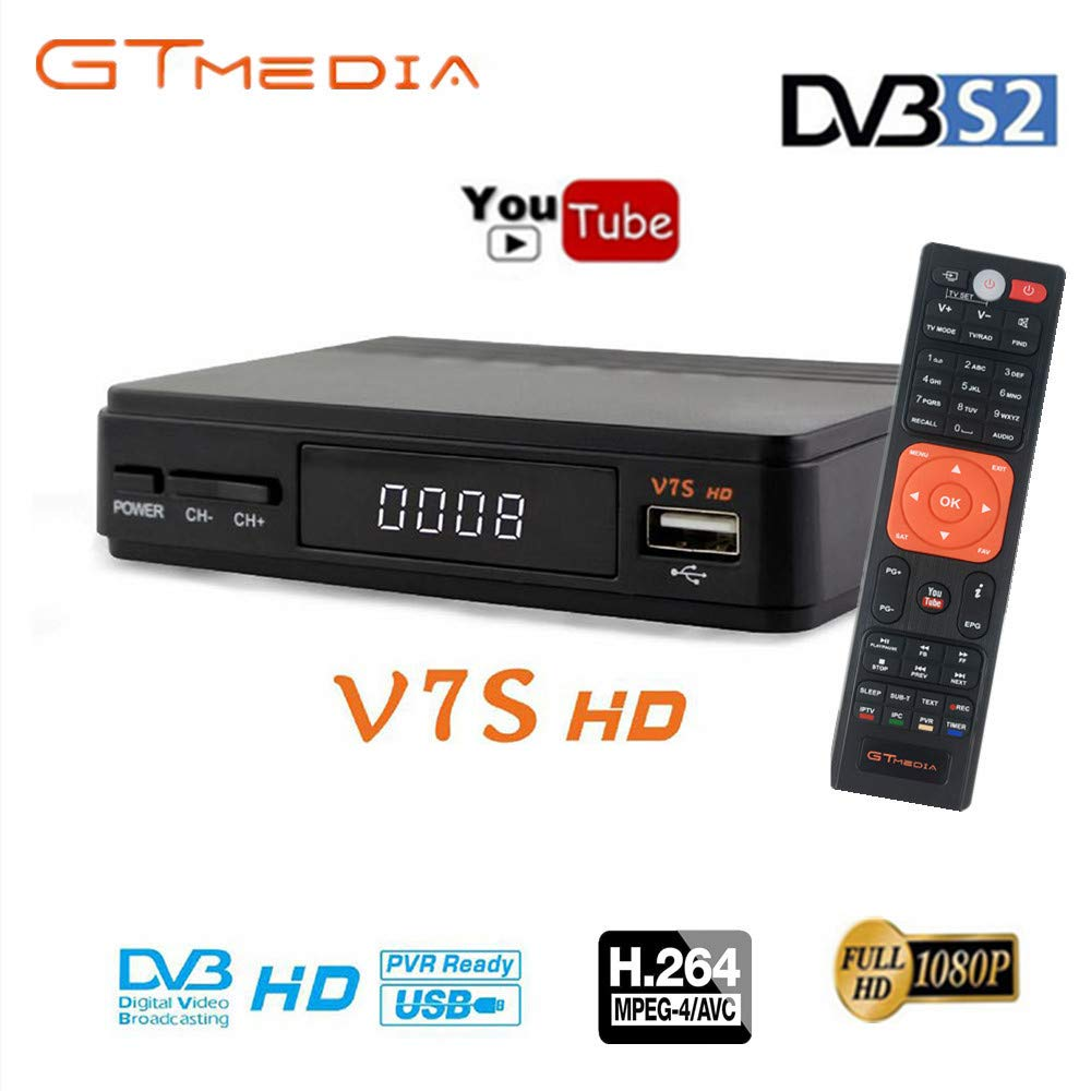 GT MEDIA Freesat V7S FTA Satellite TV Receiver HD DVB-S/S2 SAT Finder TV Decoder,Supports PowerVu,DRE & Biss Key,YouTube,Newcam ect. by GT MEDIA