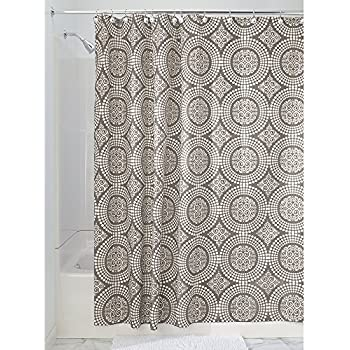 InterDesign Medallion Fabric Shower Curtain, Long 72 X 84, White/Taupe