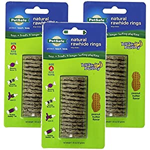 PetSafe Busy Buddy Refill Ring Dog Treats for select Busy Buddy Dog Toys, Peanut Butter Flavored Natural Rawhide, Size A (Pack of 3)