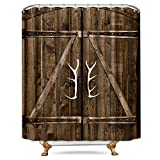 Cdcurtain Wooden Garage Barn Door Shower Curtain Free Metal Hooks 12-Pack Vintage Rustic Country Gate Decor Fabric Bathroom Set Polyester Waterproof 72x72 inch