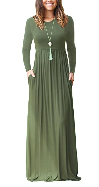 63083ac794 DEARCASE Women's Casual Long Sleeve Long Maxi Tunic Dresses Army Green Small
