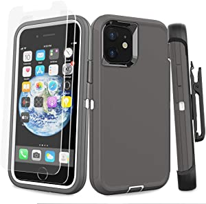 Diverbox for iPhone 11 Heavy Duty Protective Case Multi-Layer Drop Protective with Belt Clip Screen Protector Tempered Glass [2 Pack] Shockproof/Drop/DustProof for Apple iPhone 11