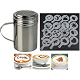 FiNeWaY@ STAINLESS STEEL CHOCOLATE SHAKER DUSTER + 16 CAPPUCCINO COFFEE BARISTA STENCILS