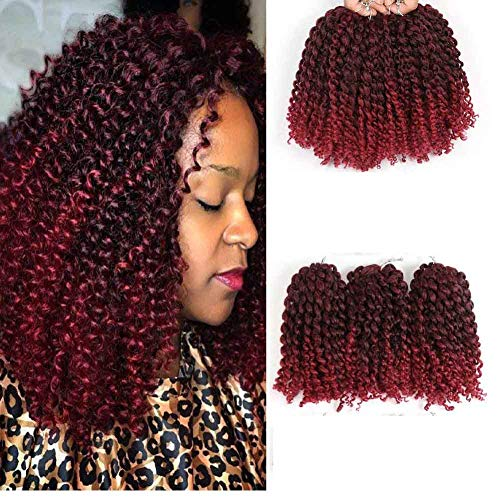 HVAXING 8 inch Short Marlybob Crochet Braiding Hair 3 Bundles/pack Afro Kinky Curly Synthetic Ombre Braids Hair Extensions (Natural Color-Wine Red)