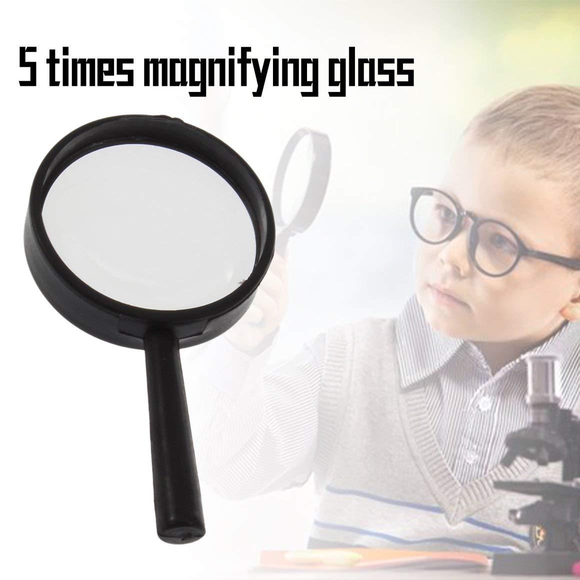 Negro Funnyrunstore Top Handheld Reading 5X Magnifier Hand Held Magnificador de acr/ílico 25mm Mini bolsillo Lupa Lupa Microscopio de lectura
