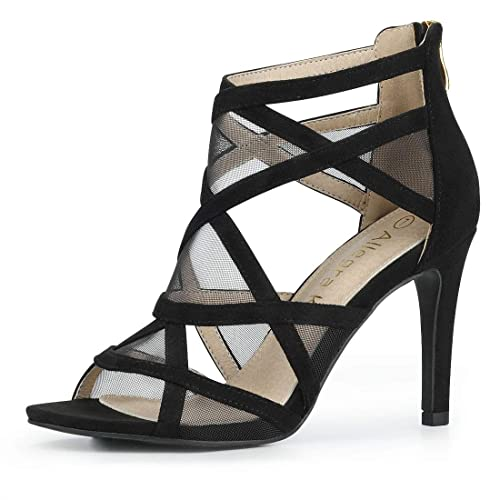 e723cb2dd68 Allegra K Women's Mesh Cutout Sandals Stiletto Heels