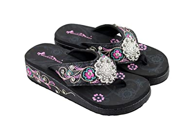 d080fb82c713c9 Montana West Bling Wedge Flip Flops Platform Sandals Embroidered Rhinestone  Flower Concho Size 10