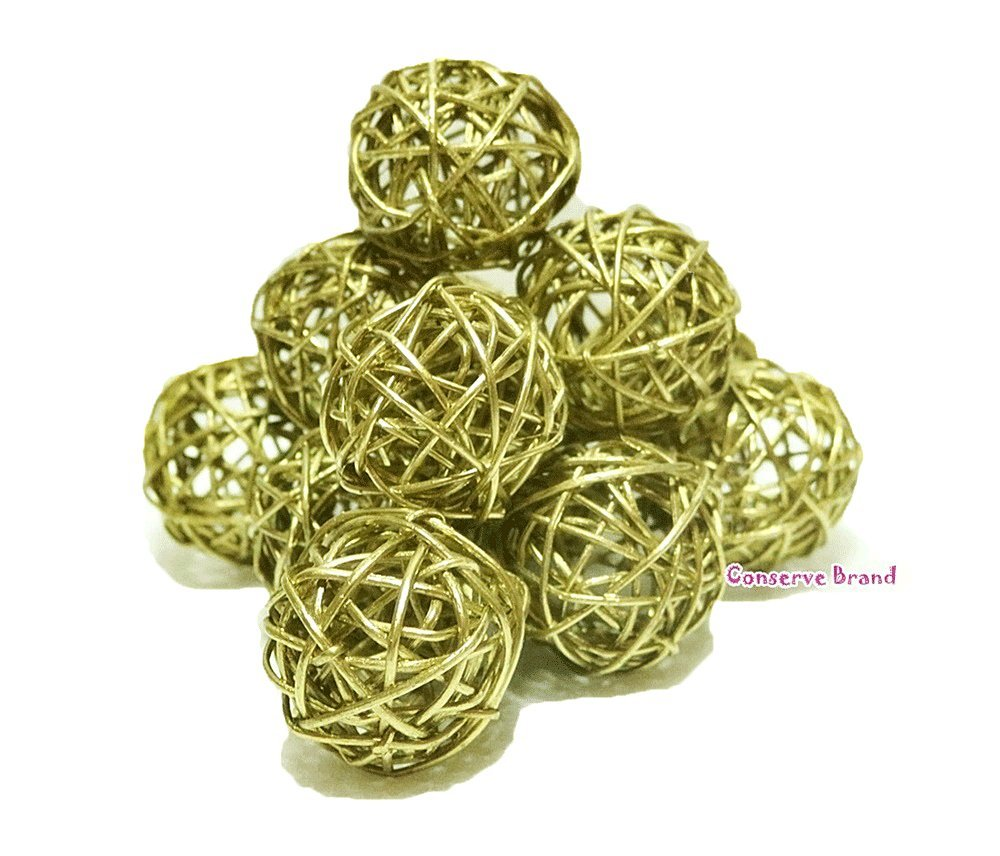Christmas Gifts : Small Golden Rattan Ball, Wicker Balls, DIY Vase And Bowl Filler Ornament, Decorative spheres balls, Perfect For Decoration And Party 2.5 inch, 12 Pcs (Free Gift From Conserve Brand) by Conserve's Rattan Ball