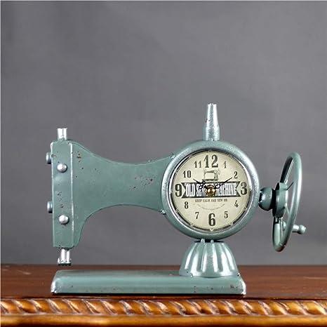 KJH Reloj de Mesa, Máquina de Coser Vieja Manera de La Tabla del Reloj, Estilo Europeo de Hierro Reloj De Escritorio con Pilas for No Hacer Tictac del Reloj del Manto for