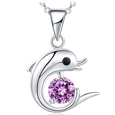 MerryQueen® 925 Sterling Silver Dolphin Necklace with 5A Zirconia, 46 cm + 5 cm Silver Chain, Jewellery Gift Box